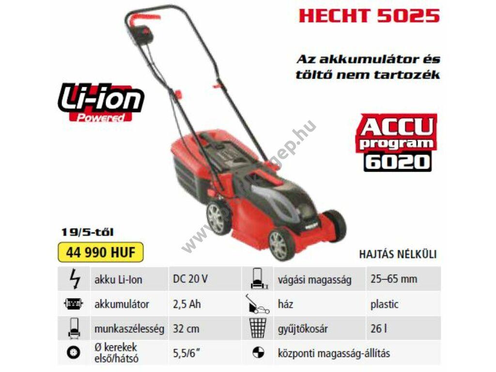 HECHT 5025 akkumulátoros fűnyíró, 32 cm, 20V, 2.5 Ah, akku és töltő nélkül