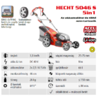 Hecht 5046S Akkumulátoros fűnyíró, 40V, 46 cm, önjáró, akku és töltő nem tartozék