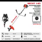 HECHT 145 benzinmotoros bozótvágó, fűkasza 43cm3, 2Le, damilfej, vágótárcsa