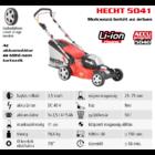 HECHT 5041 Akkumulátoros nem önjáró fűgyűjtős fűnyíró, 41cm, 40V, mulcsbetét, akku és töltő nélkül (AKKU program 5040)