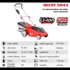 HECHT 5043 Akkumulátoros fűgyűjtős fűnyíró, 43cm, 40V, akku és töltő nélkül (AKKU program 5040)