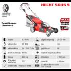 HECHT 5045S Akkumulátoros önjáró fűgyűjtős fűnyíró, 46cm, 40V, oldalkidobó, mulcsbetét, akku és töltő nélkül (AKKU program 5040)