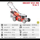 HECHT 551 SX 5IN1 Benzinmotoros önjáró fűgyűjtős fűnyíró, 51cm, OHV 175cm3, állítható menetsebesség, oldalkidobó, mulcsbetét