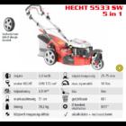 HECHT 5533 SW 5IN1 Benzinmotoros önjáró fűgyűjtős fűnyíró, 51cm, OHV 173cm3, oldalkidobó, mulcsbetét, 3 kerekű