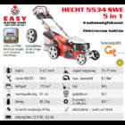 HECHT 5534 SWE 5IN1 Benzinmotoros önjáró fűgyűjtős fűnyíró, 51cm, OHV 173cm3, Önindító, állítható menetsebesség, oldalkidobó, mulcsbetét