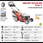 HECHT 5534 SX 5in1 Benzinmotoros önjáró fűgyűjtős fűnyíró, 51cm, OHV 173cm3, állítható menetsebesség, oldalkidobó, mulcsbetét