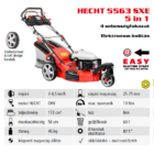 HECHT 5563 SXE 5IN1 Benzinmotoros önjáró fűgyűjtős fűnyíró, 56cm, OHV 173cm3, Önindító, állítható menetsebesség, oldalkidobó, mulcsbetét