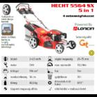 HECHT 5564 SX 5IN1 Benzinmotoros önjáró fűgyűjtős fűnyíró, 56cm, Loncin 196cm3, állítható menetsebesség, oldalkidobó, mulcsbetét