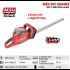 HECHT 6040 akkumulátoros sövényvágó, 40 Volt, 76 cm, akkumulátor és töltő nélkül (AKKU program 5040)