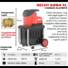 HECHT 6284 XL Elektromos ágaprító, komposztáló, forgókéses, 2800W, ágátmérő: 4,5 cm, gyűjtődoboz