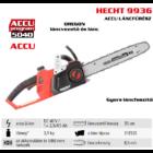 """HECHT 9936 akkumulátoros láncfűrész 40V, Oregon lánc 3/8""""-1.1-52 szem, Oregon vezető 35cm, Akku és töltő nélkül (AKKU program 5040)"""